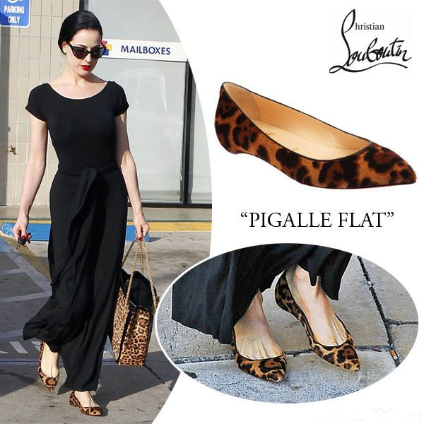 dita von teese christian louboutin-pigalle leopard print flats and black  maxi dress