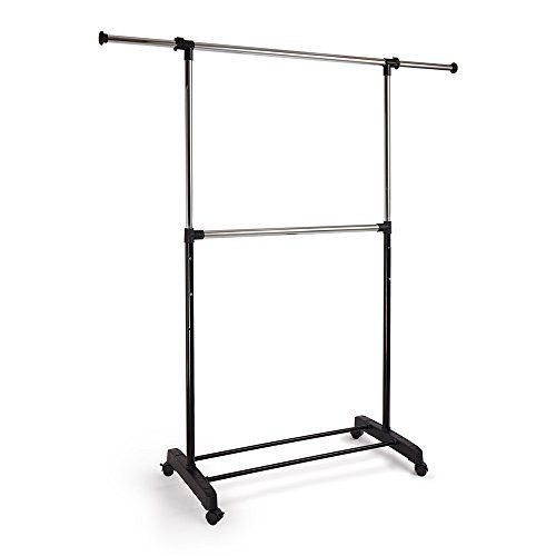 Proaid Adjustable 2tier Garment Rack Premium Steel Quality Portable Rolling Clothes Rack With Br Rolling Clothes Rack Home Storage Organization Garment Racks
