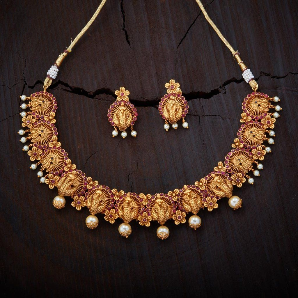 set necklace ruby buy antique rose zoom designs jewellery radhas creations matte matt designers gold temple finish
