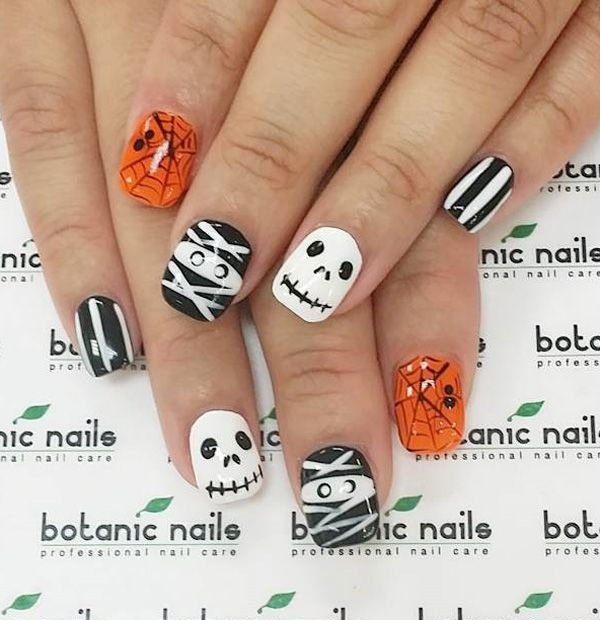 Zombie nails - 65 Halloween Nail Art Ideas Uñas Pinterest Zombie Nails, Skull