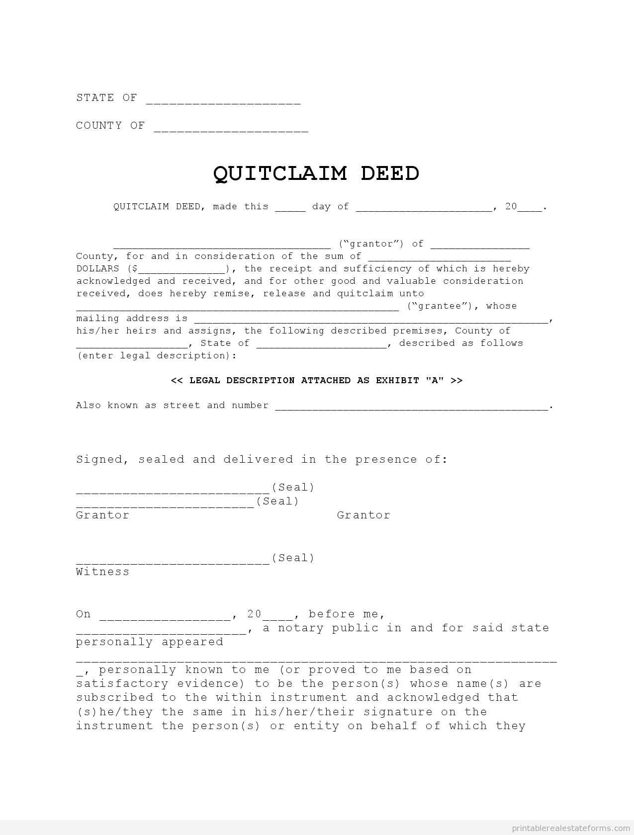 Printable quit claim deed 3 template 2015 – Sample Quitclaim Deed Form