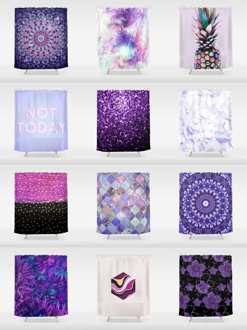 society6 purple shower curtains - add a bold statement to your