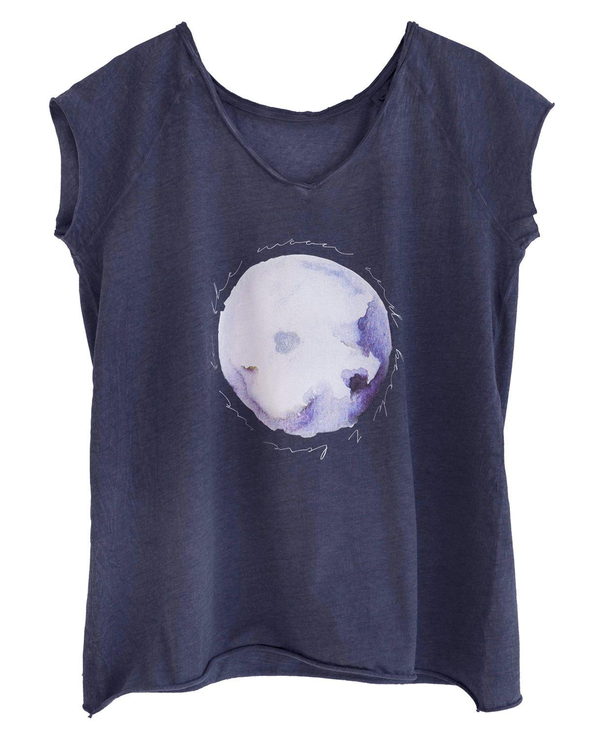 camiseta de algodón 100% con dibujo de luna y mensaje