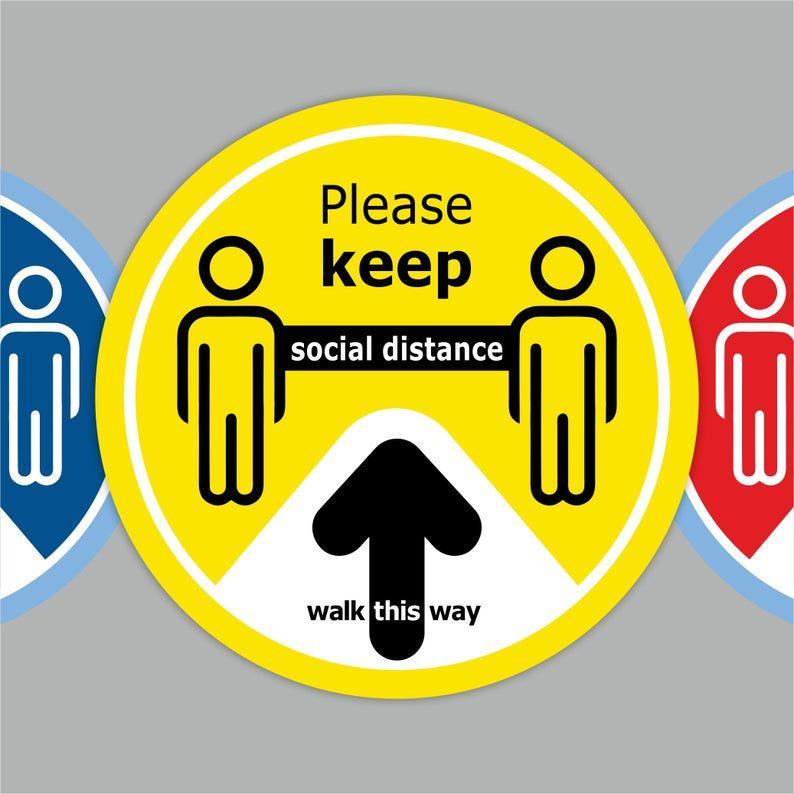 Walk This Way Arrow Social Distancing Floor Decals Yellow Etsy In 2021 Floor Stickers Floor Decal Retail Signs
