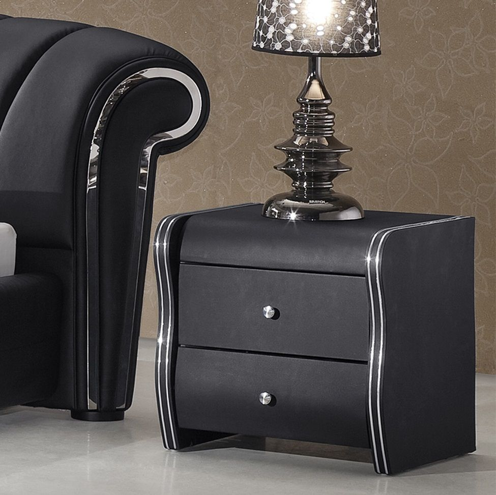 Modern black bedside table - Veronica 2 Drawer Black Faux Leather Bedside Cabinet