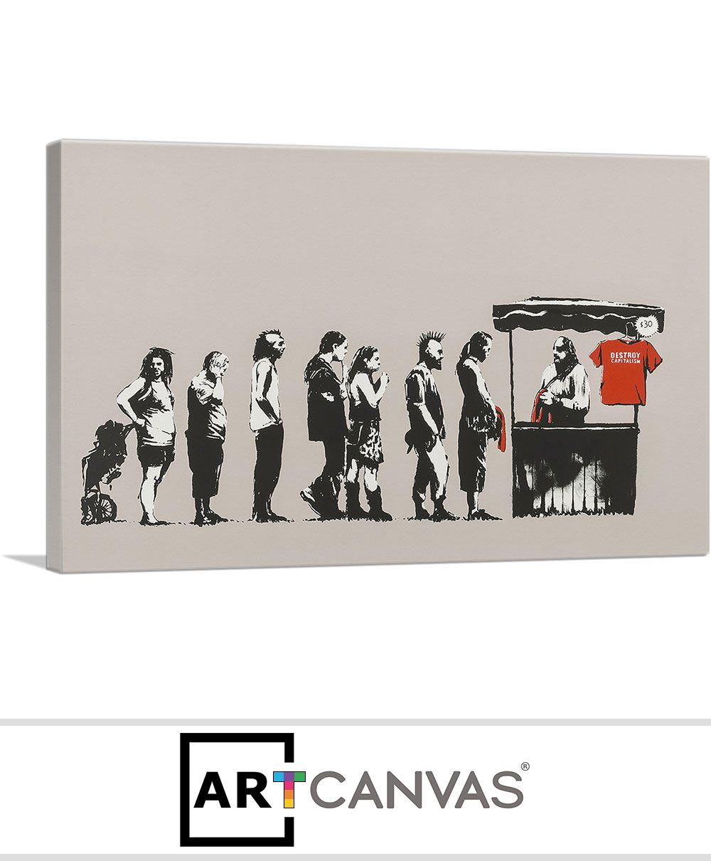 Banksy Canvas Art Destroy Capitalism Canvas Art Print For Sale Artcanvas