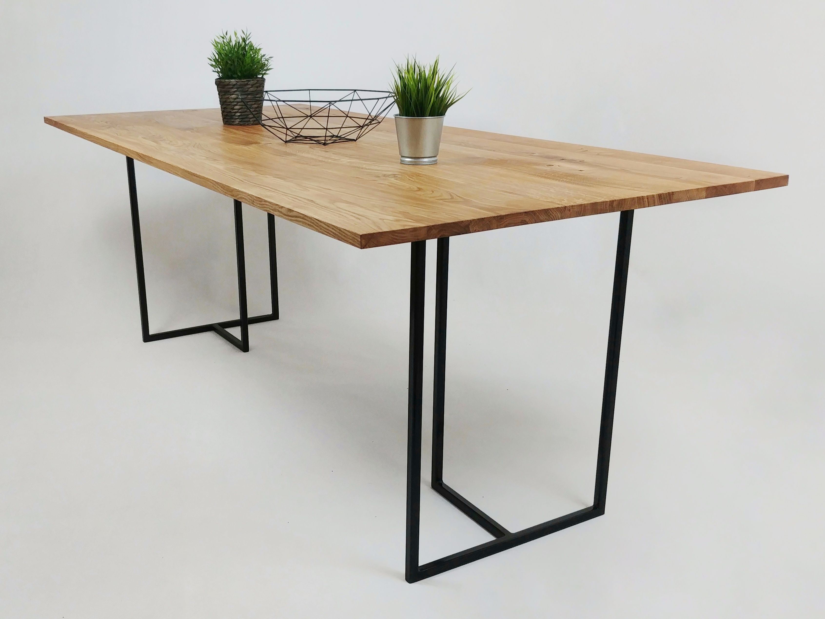 Thin Oak Wood Top Dining Table With Black Steel Frame Dining