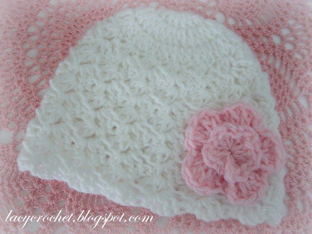 Lacy Crochet  White Newborn Hat http   allicrafts.blogspot.co. fcbfc82d3de