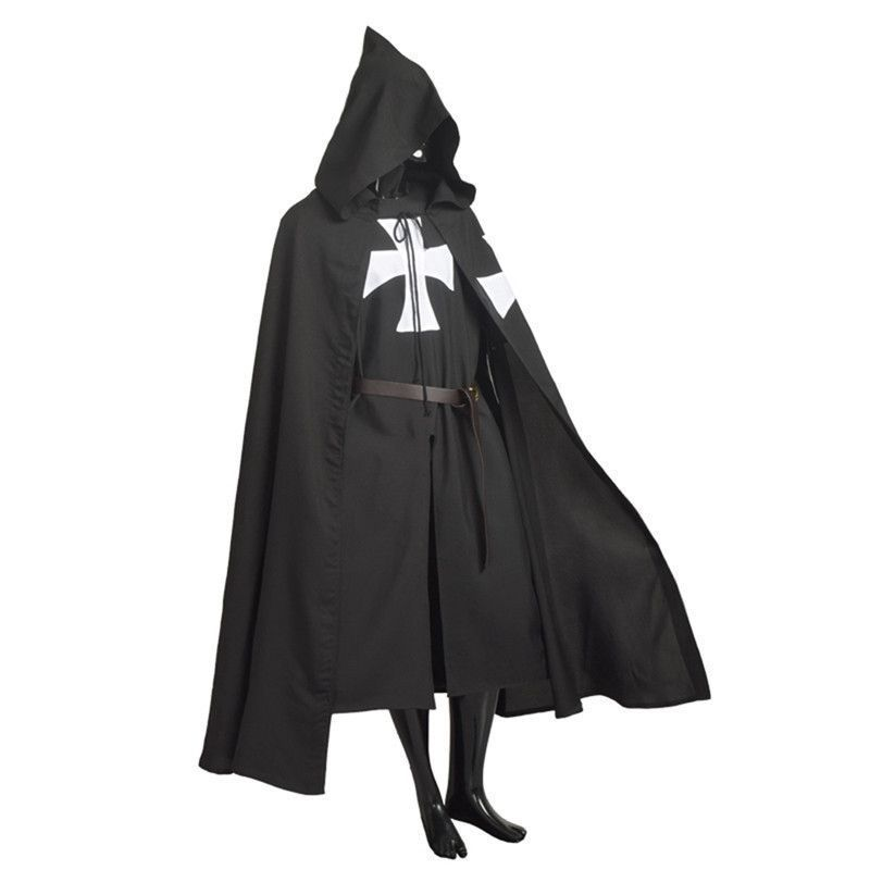 Medieval Hooded Cloak Templar Knight Cross Capes Robe Halloween Costume Cosplay
