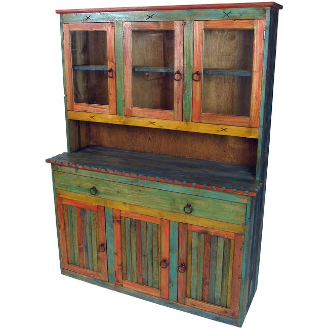 Mexican Painted Wood China Cabinet with Glass - this for my kitchen! - Google Image Result For Http://feeds.yourstorewizards.com/2725