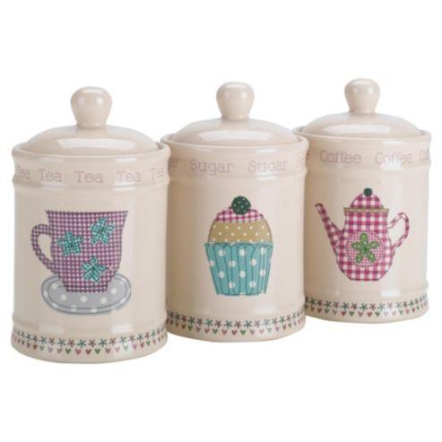 Tesco Time For Tea Tea Coffee And Sugar Canister Set