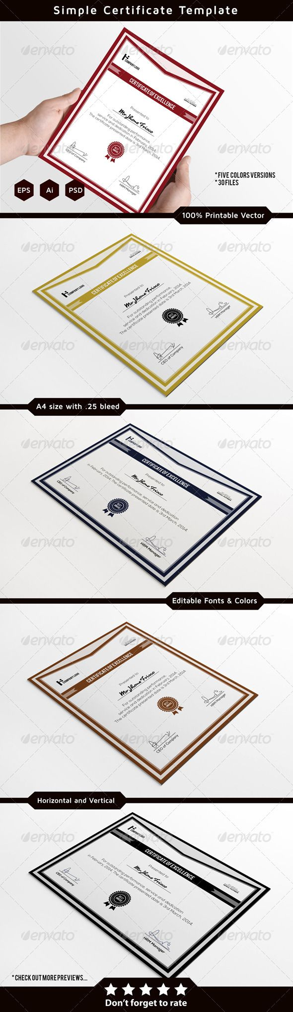 Corporate Certificate Template    Colours Texts And