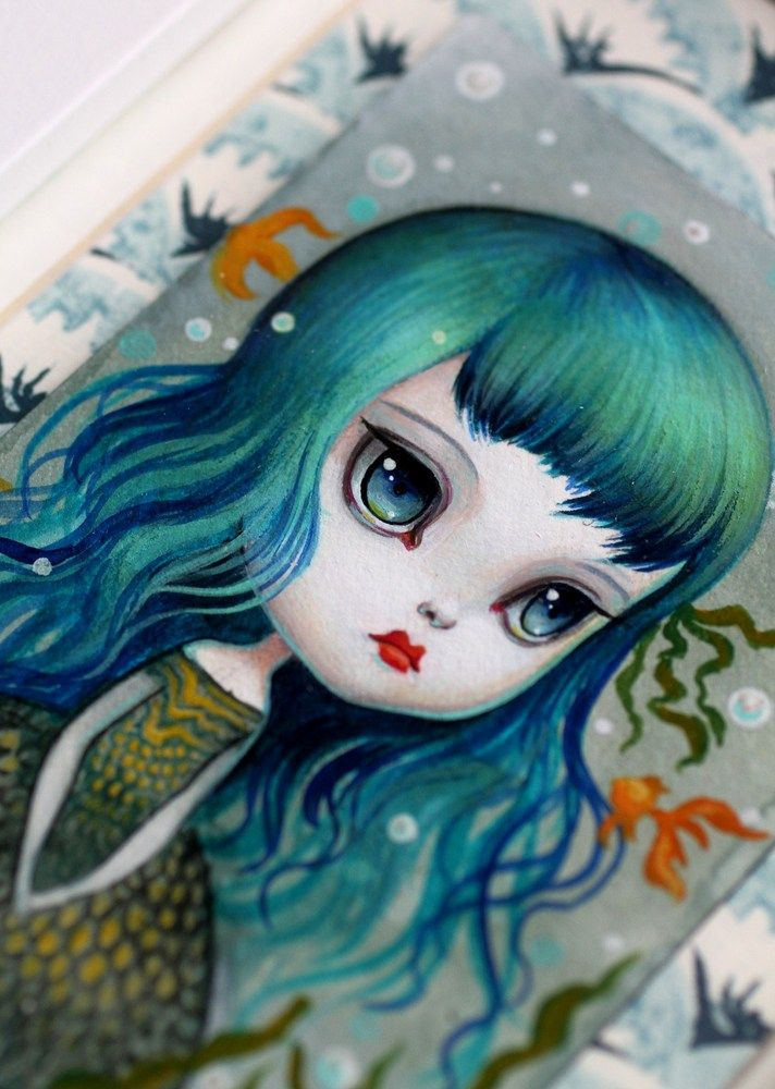 Mab Graves - Her Waifs and Strays — The Little Mermaid -framed miniature ATC ACEO original painting by Mab Graves