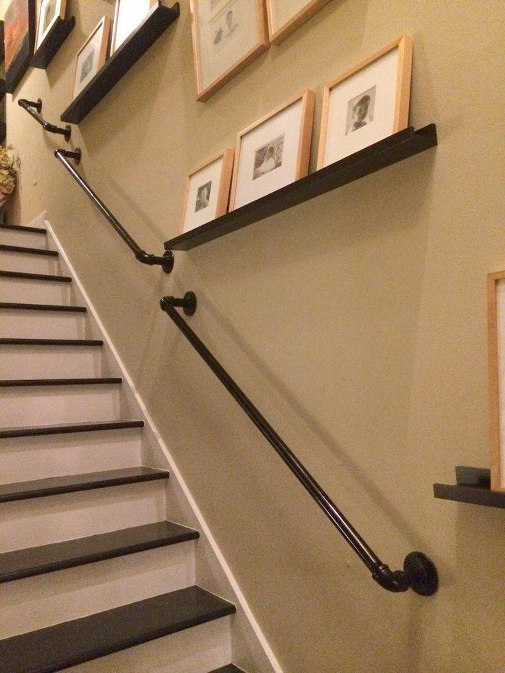 Marvelous Wall Mounted Stair Railing Vintage Industrial Stair