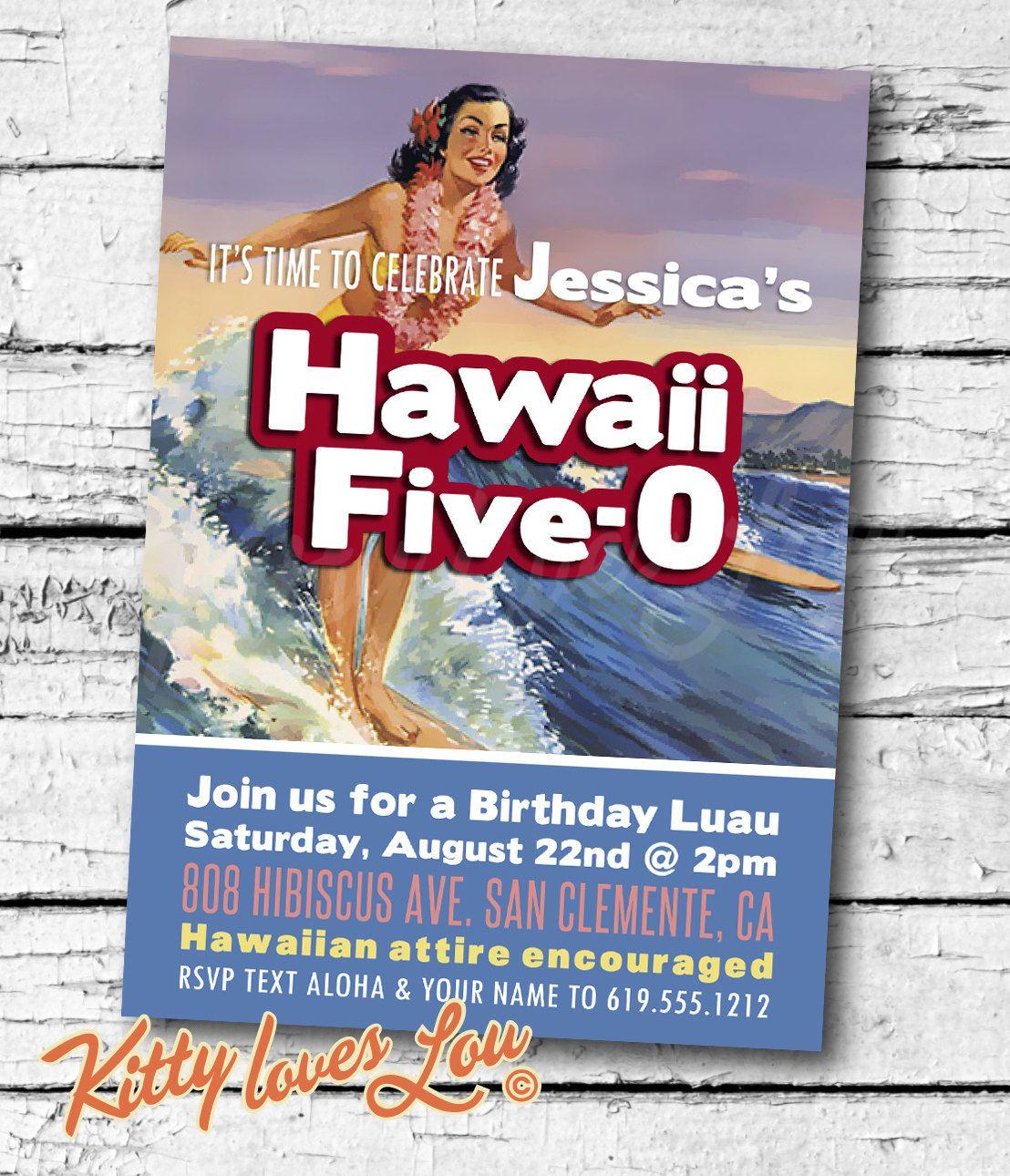 PRINTABLE Hawaii Five0 50th Birthday Party Invitation