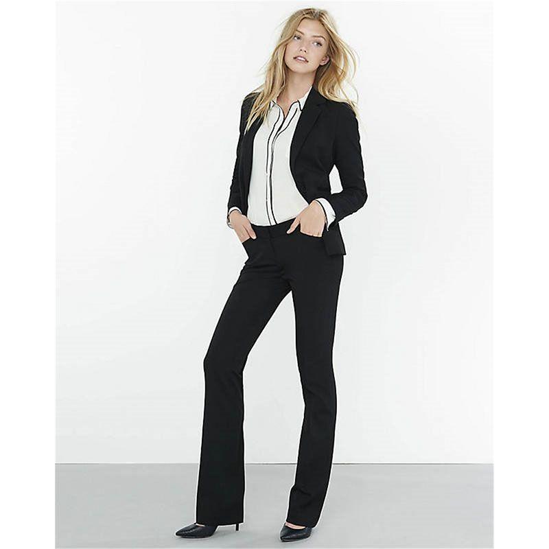Pantalones de traje Negro 2 unidades set mujeres trajes pantalón ...