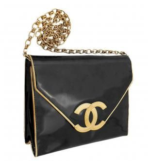 Chanel Black Patent Gold Trim CC Logo Vintage Single Flap Bag ... 883505c505f