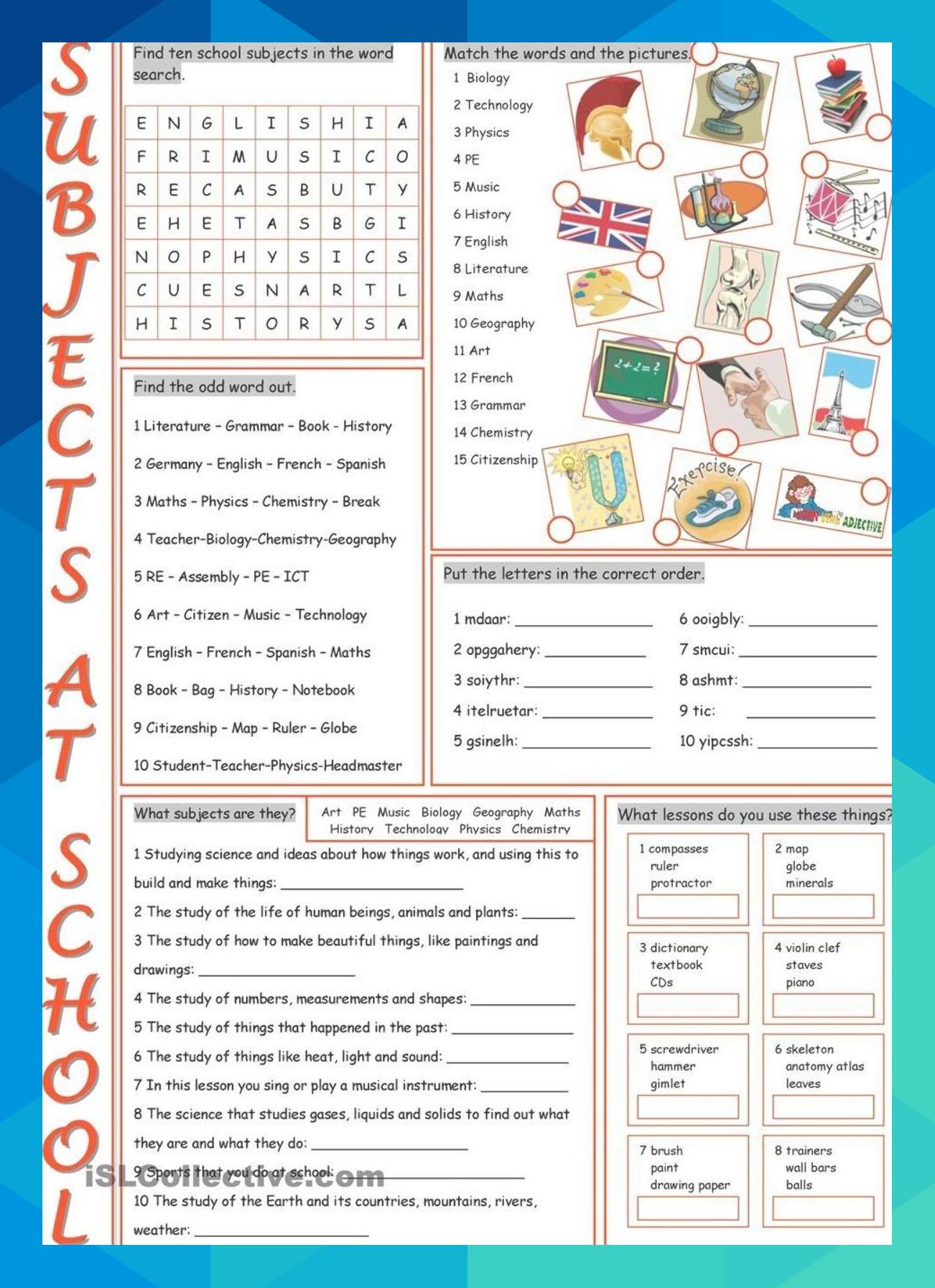 School Subjects Vocabulary Exercises Mdeckow19