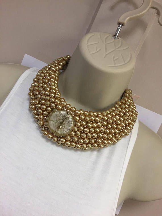 Mano con cuentas neckpiece perla acrílico oro con lazo de