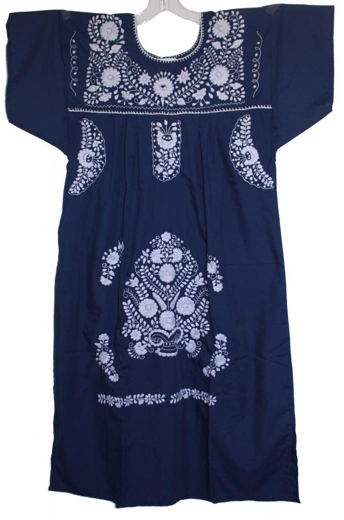 Luz Maria Women's Embroidered Mexican Peasant Dress: Clothing ...