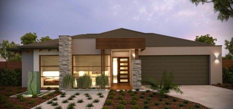 Casa de campo con fachada verde moderna decoracion for Fachadas de casas estilo contemporaneo