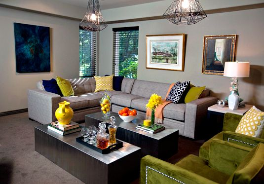 From The Bravo Show Interior Therapy . . . I Am Loving The Green Club  Chairs With The Hammer Head Nail Trim.