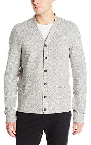 Naked & Famous Denim Men's Slim Cardigan Quilted Knit, Pale Grey ...