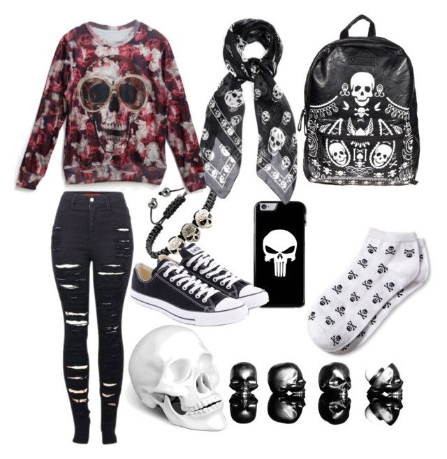 """Skulls!!!"" by gurveenpanesar ❤ liked on Polyvore featuring Loungefly, Banana Republic, L'Objet, Alexander McQueen, 2LUV and Converse"