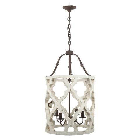 Distressed Painted Wood Chandelier French Country