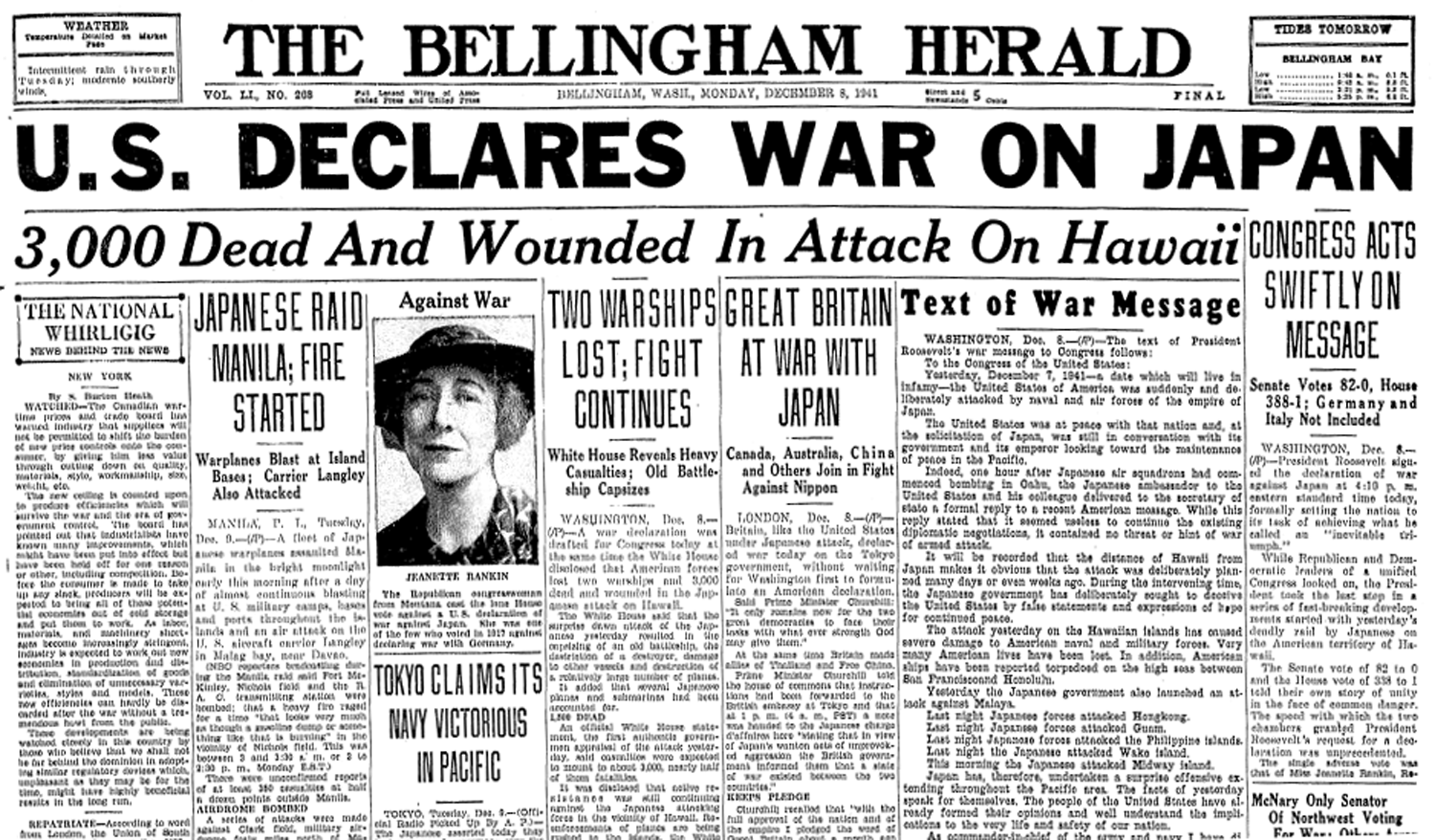 Monday, December 8th, 1941 - coverage by The Bellingham