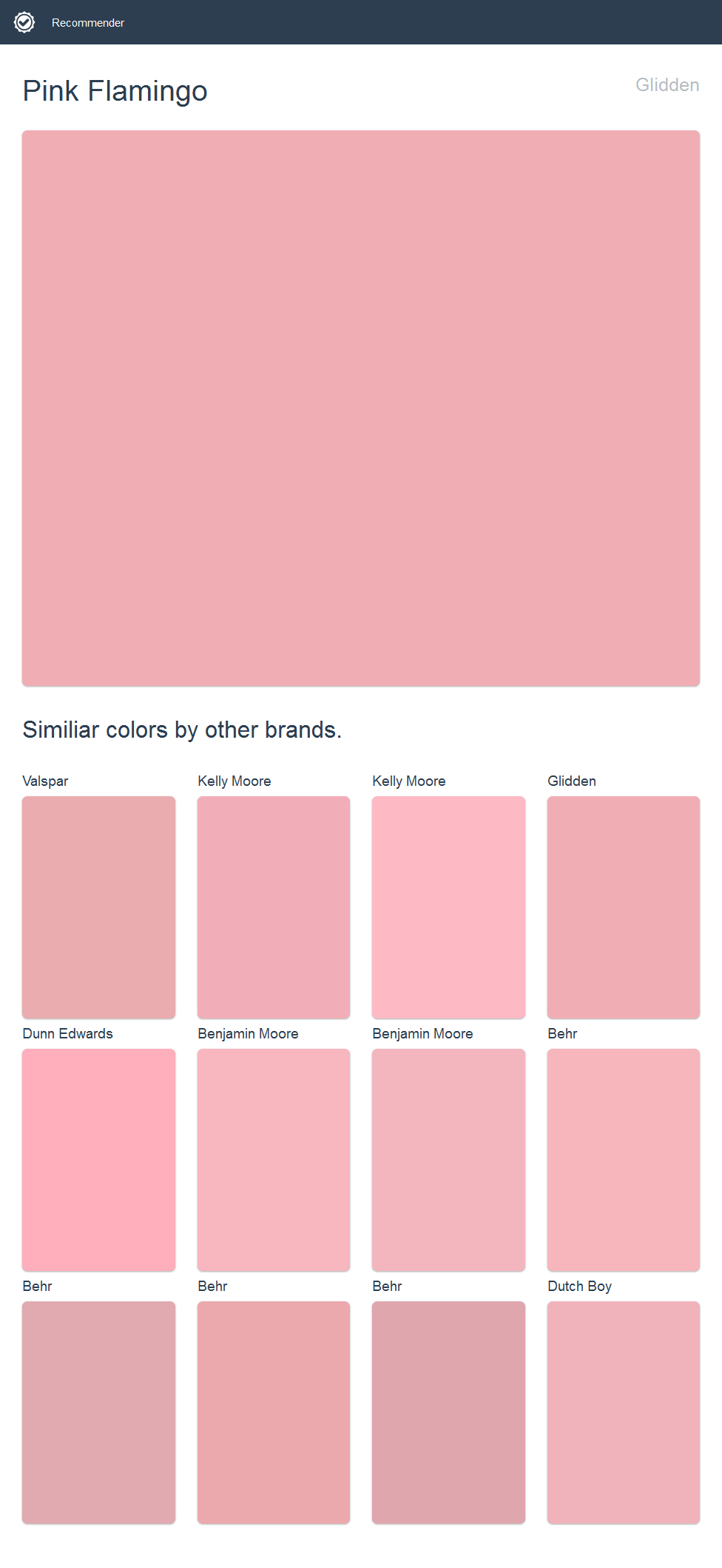 Pink Flamingo, Glidden. Click the image to see similiar colors by ...
