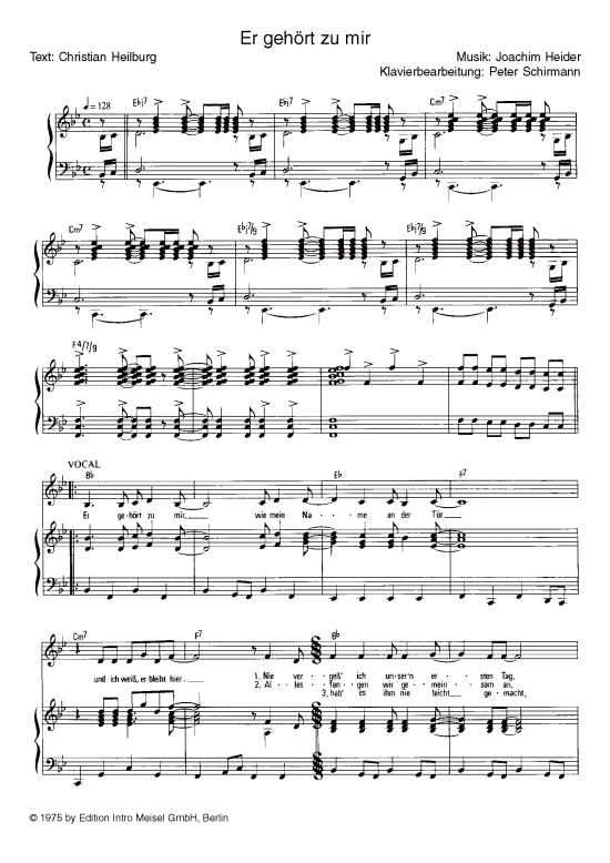 Er Gehort Zu Mir Klavier Gesang Marianne Rosenberg Klick Auf Die Noten Um Reinzuhoren Er Gehort Zu Mir Gesang Noten