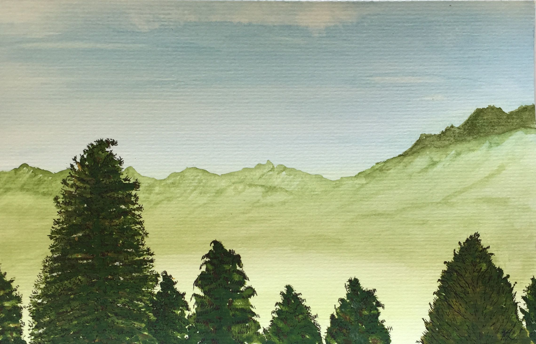 Majestic Trees Watercolor Pine Trees Green Mountains Peaceful Etsy Watercolor Trees Mountain Landscape Watercolor