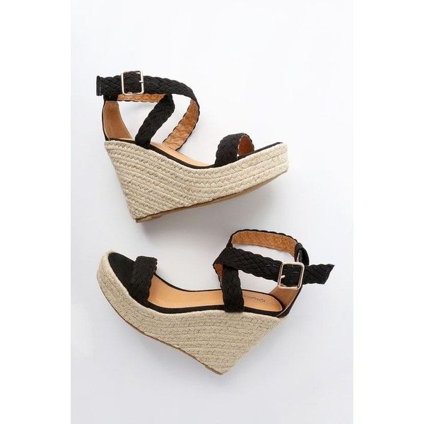 ab07f214b1ccb0 Frances Black Suede Espadrille Wedges ( 35) ❤ liked on Polyvore featuring  shoes