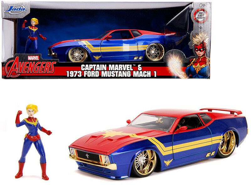 Ford Mustang Mach 1 Hollywood Rides Captain Marvel Figur 1:24 Jada
