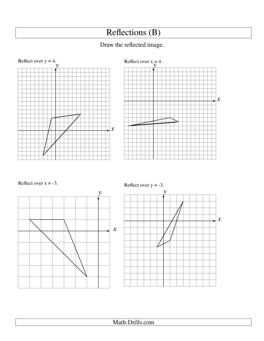 The Reflection Of 3 Vertices Over Various Lines B Math Worksheet From The Geometry Worksheets Page At Math Dril Geometry Worksheets Reflection Math Worksheet