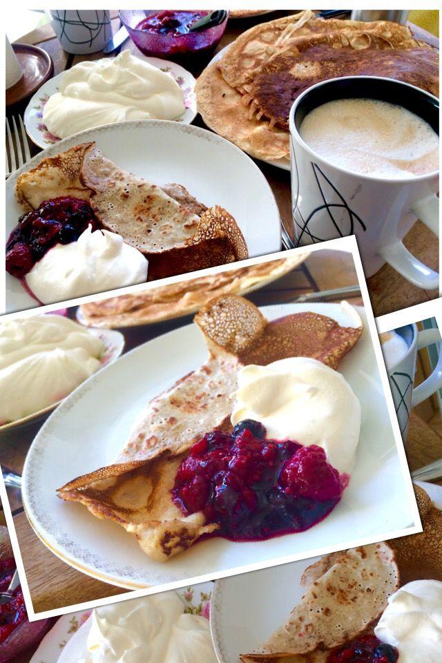 Sunshine Breakfast Swedish/Finnish Pancake   Mixed Berries/Fresh Cream