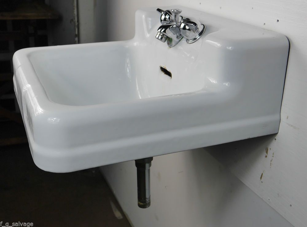 Antique Vintage Crane Bathroom Sink Wall Hung Cast Iron 1960s