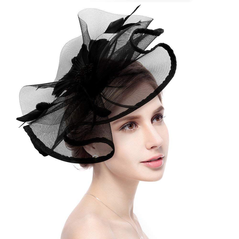 Fascinator Hat Big Flower Mesh Ribbons Feathers Headband Tea Party Kentucky Derby Fascinator