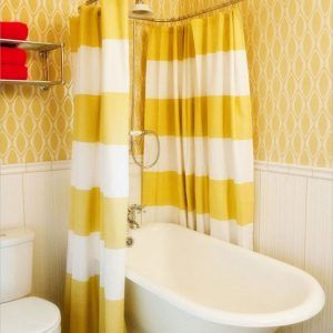 Yellow And White Striped Shower Curtain
