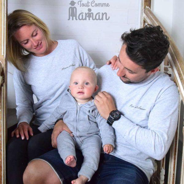 Extrem Sweat FAMILLE D'AMOUR gris chiné ou noir | Fille père, Amour maman  NM96