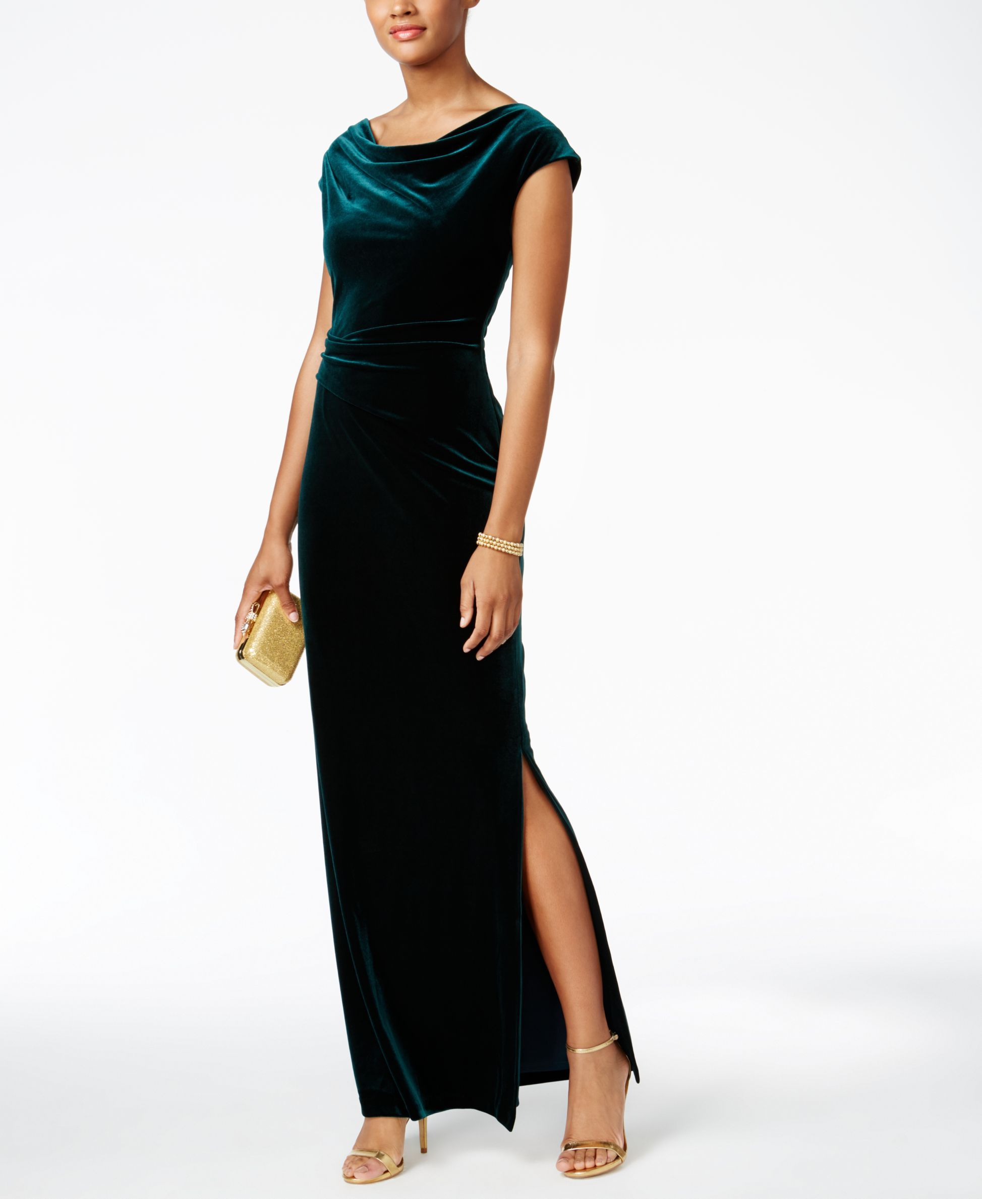 3260b4f66ca Turn heads in this cutout-back velvet gown by Vince Camuto.