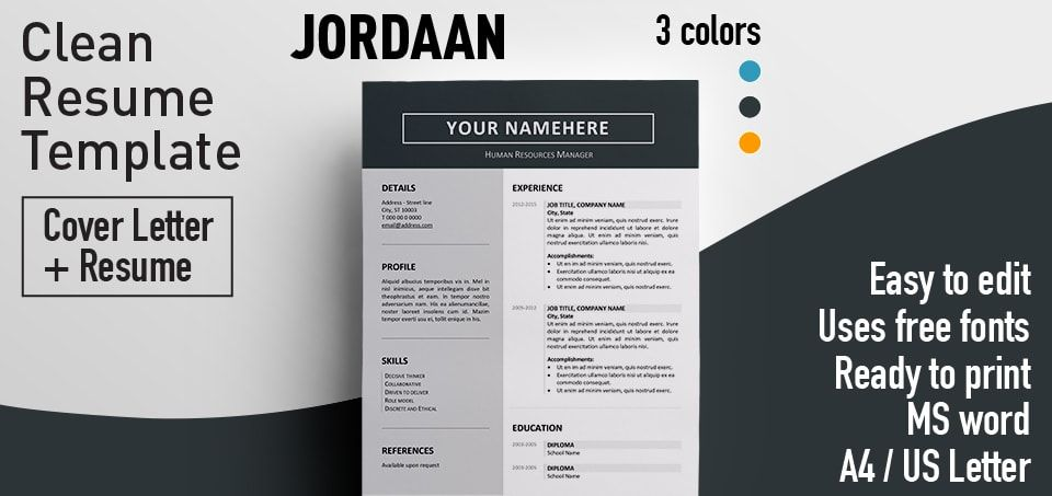 Free clean resume template for Microsoft Word. Includes Cover Letter ...