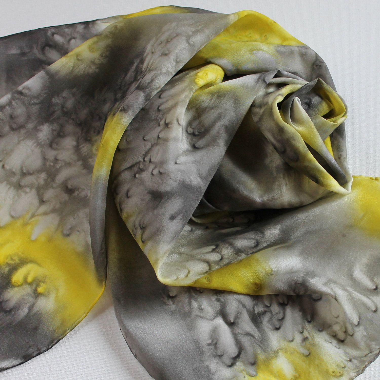 Silk Scarf - Honeybee - Hand Painted Ladies Scarves Black White Gray Grey Yellow. $30,00, via Etsy.