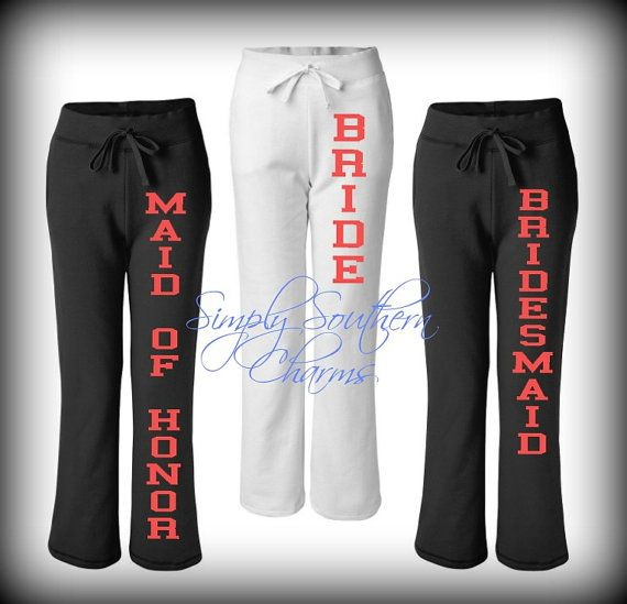6 Pairs of Bridal Party Sweatpants. Personalized Wedding Clothing ...