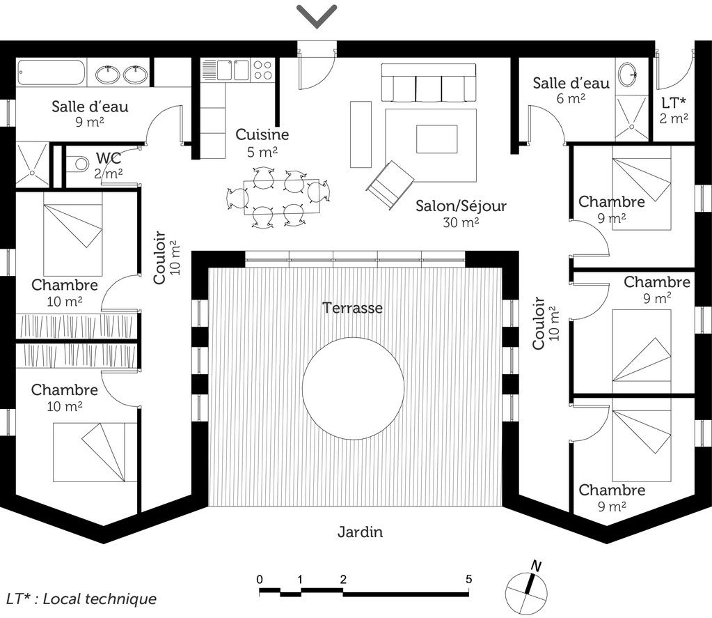 plan de maison plein pied en l