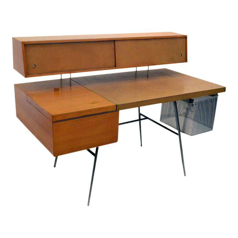 George Nelson Wood And Leather Office Desk For Herman Miller Usa