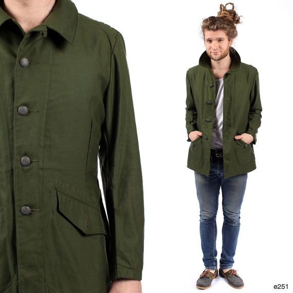 Men PARKA JACKET . Anorak Khaki Green Military Swedish Army ...