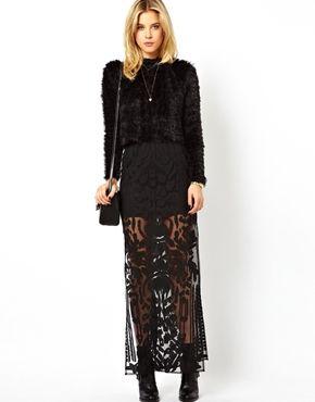 ASOS+Premium+Column+Maxi+Skirt+In+Burnout+With+Splits