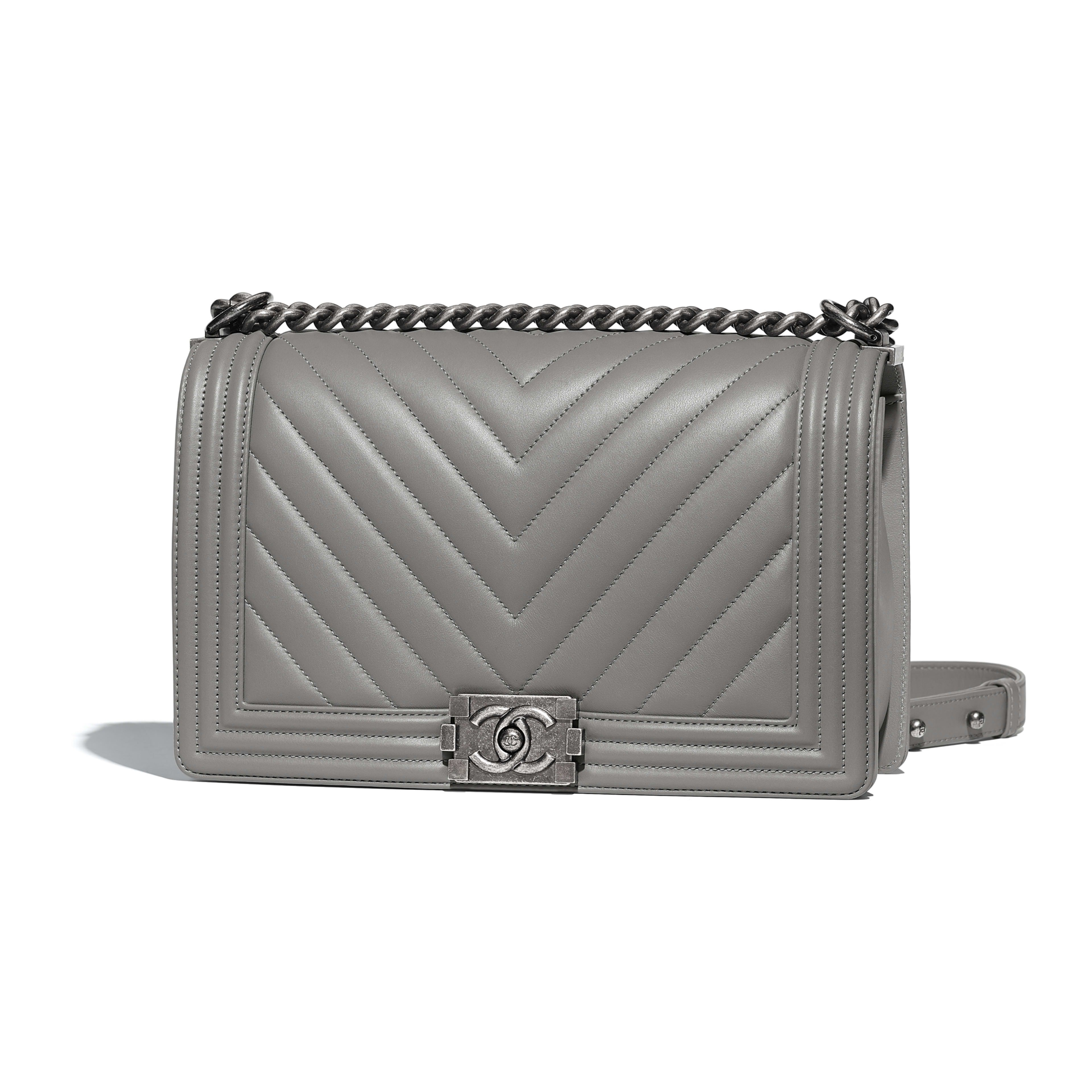 09c1128588f4 Large BOY CHANEL Handbag Calfskin & Ruthenium-Finish Metal Gray - view 1 -  see full sized version